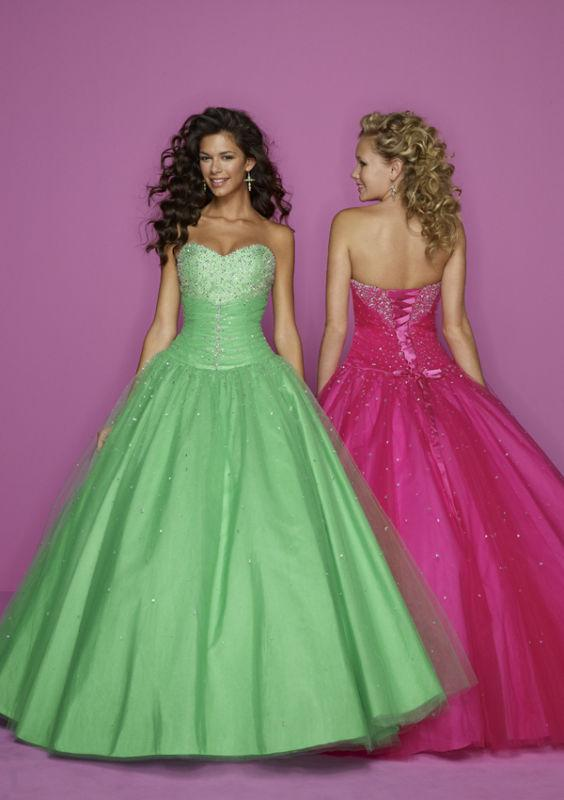 A Line Green Pink Bridesmaid Beads Lace Up Prom Gown/Dress/Evening ...