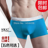 Cheap Wholesale-2015 Freeshipping Promotion Gay Mens Underwear Boxers Special Bamboo Fiber Sexy Sport Cuecas Men Waist Tide Male U Pouch Boxer