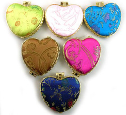 Cheap Heart Shaped Folding Pocket Compact Mirror Favors Silk Fabric Double Sided Makeup Mirror 10pcs lot mix color Free shipping