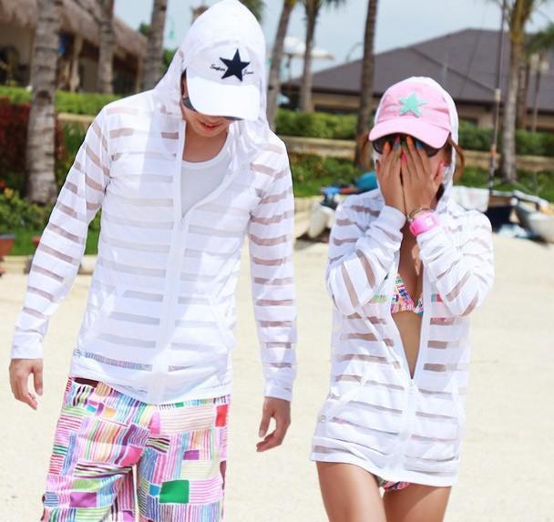 Wholesale-FASHION 2015 Slim spring autumn couples stripe loose cardigan bask clothes
