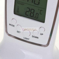 Wholesale Digital Thermometer Clock LCD Alarm Calendar LED Backlight Desktop weather station Clocks egomall
