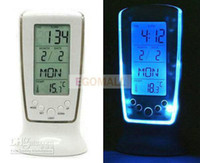 Wholesale Luxury Blue LED light Calendar clock LED clock Thermometer weather hygrometer clock from egomall