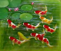 Cheap 100% Handicraft Modern Art Canvas Wall Decor Oil Paintings: Game of the carp