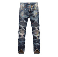 new style man jeans - New Fashion Mens Luxury Brand Designer Jeans Pants Dolce_ men Italy Style Runway Color Print Painted Distressed Washed Jean