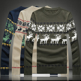 Wholesale-New and autumn men sweater fashion Christmas snowflakes fawns printed sweater casual slim fit pullover sweater men