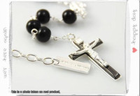 Wholesale Mens black agate beads Rosary Necklace Chain link Cross Pendant with logo box