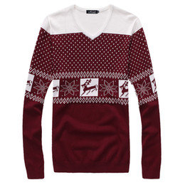 Wholesale-Man Pullover Sweater Christmas With a deer print fashionmens spring clothing sweater slim V-neck shirt shirt Clothing w318