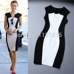Wholesale-New Fashion Women Summer dress Celeb Style Slim Bandage Tunic black white stitching dresses sexy Party Plus Size Bodycon Dress