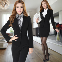 Cheap Wholesale-New Arrival 2015 Autumn and Winter Formal Women Skirt Suits Fashion Ladies Business Sets Elegant Slim black Free Shipping
