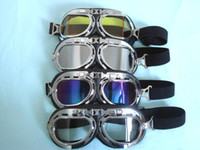 Wholesale 4 Unit Motorcycle Lenses Plating Frame Sunglasses UV Goggles Clear Color Silver Yellow Glasses