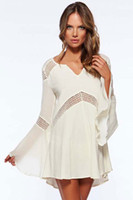 beauty tunics - Beauty online New Fashion Sexy Women Beach Dress Bell Sleeves Hollow out Beach Tunic LC40898