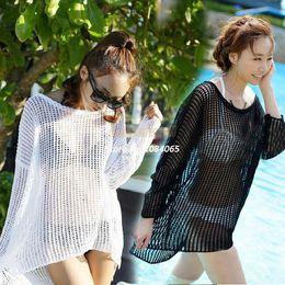 Wholesale-Lady's Crochet Sunscreen Swimwear Bikini Cover Up Beach Holiday Tops Dress White Black 35