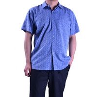 Cheap Wholesale-Male Summer 100% Silk Shirt Printed Fashion High Quality Mulberry Silk Shirt Jazz Blue Short Sleeves Shirt For Men 636 - 5