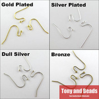 Cheap Wholesale-(100Pcs=1Lot ! ) Free Shipping Copper Ear Earring Wire Hook With End Ball Stopper Gold Silver Bronze Plated For Jewelry EW16