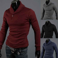 All'ingrosso-Hot Mens Tartaruga Collo Polo Slim Fit Cardigan Maglione Pullover Shirt Tops 4Color