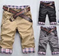 Wholesale Stylish Capris - Wholesale-2015 New Fashion Korean Stylish Mens Short Pants Lattice Flanging Cropped Trousers