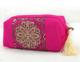 Wholesale Pretty Women Zipper Travel Cosmetic Bags Cases Splice Fabric Tassel Makeup Storage Pouches mix color