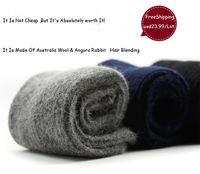 wool socks - Top Quality Luxury Men Winter Warm Ultra Thick Cashmere Socks Wool Socks Angora Rabbit Hair Socks Pairs