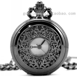 Wholesale The tungsten steel Black Classical carved hollow conveyor chain fashion Retro pocket watch