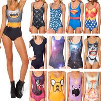 batman bathing suits - New Swimwear Women Balck Milk Swimwear Batman Batgirl Bathing Suit One Piece Swimsuit Plus Size Swimming Suit For Women