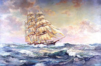 Wholesale Oil painting seascape ocean wave amp sail boat x36Inch