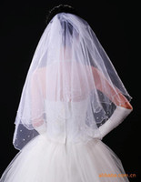 Wholesale Two Layers Beads Pearl cm Ivory White Bridal Accessaries Veil For Bride Elegant Romantic Veiling Tulle