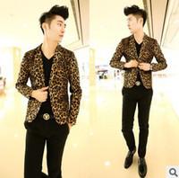 Wholesale Autumn Nightclub Blazers Men Casual Suit Jacket Male Leisure Suits For Men Slim Mens Leopard Print Blazer