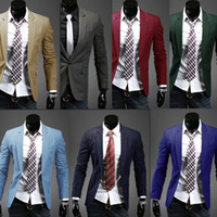 Wholesale New Men Fashion Jacket Outwear Slim Fit Single Button Short Casual Blazers Suits Candy Color Hot Sale