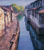 Wholesale Oil painting landscape village house with river x36Inch