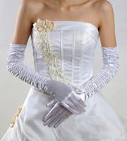 Wholesale Cheap Wedding Glove cm ivory white long finger satin bridal accessaries bridal gloves
