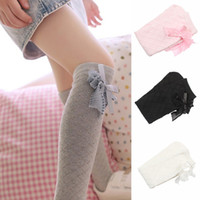 baby high school - Lovely Baby Kids Girls Bowknot Cotton Plaids Stockings School High Knee Stockings