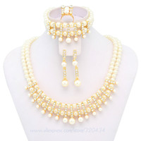 Cheap Wholesale-Free Shipping!!!Hot Sale2015Pink&White Mysterious Fashion jewelry High Quality Pearl Jewelry Set,Costume Wedding Bridal