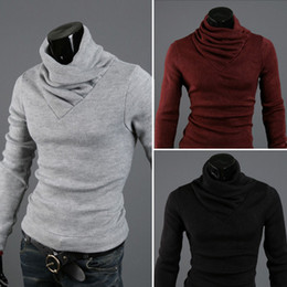 Wholesale- NEW Arrival autumn and winter thickening cashmere slim male unique turtleneck sweater mens fashion high neck warm knitwear