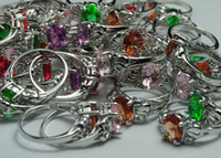 Wholesale 10pc silver styles Colours crystal Rings US SIZE