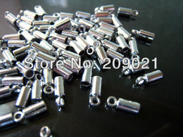 Wholesale DIY Silver Plated Round Tone Cord End Buckle Cap with Loop for Leathers mm x mm inside mm Diameter Finding