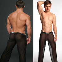 Wholesale Sexy Men Mesh Pants Brand See Through Mens Sheer Pants Long Pajamas Sex Gay Penis Loose Sleep Bottoms Underpants Sleeping Pants