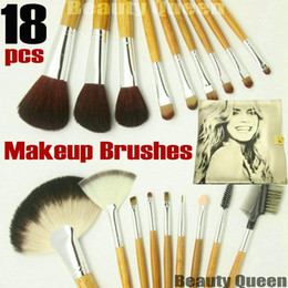 Wholesale - 18 pcs PRO MAKEUP BRUSHES SET PONY GOAT HAIR Golden Bag Leather Pouch NEW * FREE SHIP *