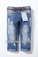 acid wash jeans - Retail Brand New Fashion Children s High Waist Acid Wash Girls Denim Pants Jeans Hole Bluefreeshipping Trousers