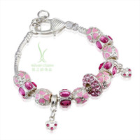 Cheap Wholesale-2015 HOT Sell European Style 925 Silver Charm Pan Bracelet for Women With Pink Crystal Murano Glass Beads DIY Jewelry PA1400