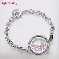 Cheap Wholesale-10pcs lot Free Shipping 25mm Openable Magnet Photo Memory Glass Locket Bracelet Living Charm Floating Locket Bracelet