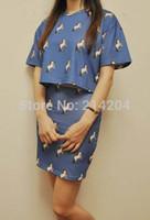 Cheap Wholesale-FSJ Real Pics Stylenanda Korean Vintage Fashion Unicorn Print Crop Loose Tops and Skinny Skirts Set Suits Good Quality 3 colors