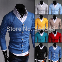 Wholesale-New 2015 spring Fashion Mens Sweaters Men Brand cotton Slim fit super thin v-neck Cardigan sweater red blue yellow wholesale
