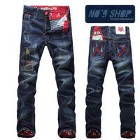 Wholesale new men fashion street rock graffi pattern japanese brand straight denim men jeans pants trousers