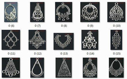 Wholesale-OMH wholesale jewelry 100pcs tibetan silver mixed pendants earring connectors Drop Earrings -(About 50 kinds of)