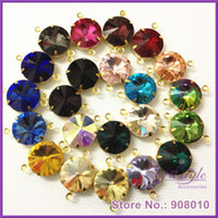 faceted glass stones - Mixed Colors Faceted Glass Rivoli Stones in Gem Charms Connectors Loops Brass Setting mm mm mm mm