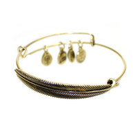 Wholesale 2015 Women Charms Alex and Ani Plume Feather Bracelet Vintage gold silver Women Vintage Metal Alloy Fine Bracelets Bangles