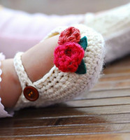 Crochet baby shoes white with 2 strawberries & green lea...