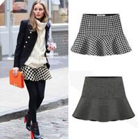mini plaid skirt - Fashion Womens Spring Autumn Houndstooth High Waist Short Mini Plaid Skirts