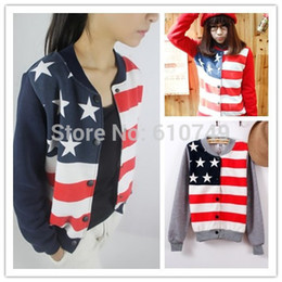 Wholesale-Free shipping Sport suit Women 2015 Sweatshirt Stars and Stripes print cartoon stand collar baseball uniform lovers sweatshirt