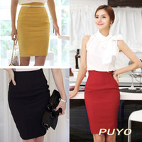 bags empire - Retro Bag Hip Office Career High Waist Womens Skirt Pencil Knee Length M XL Red White Wine Black